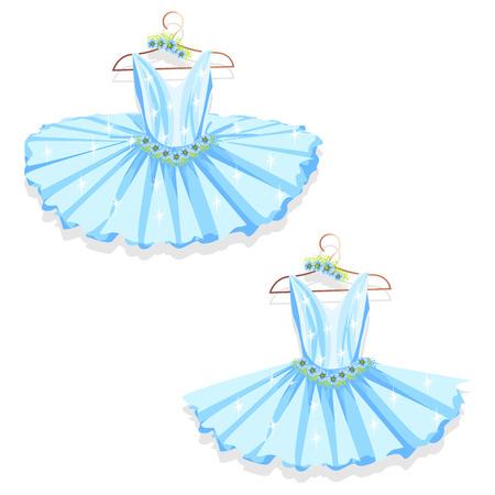 Dance dress on a hanger.