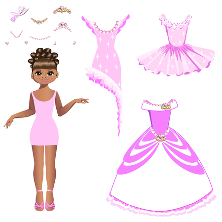Beautiful princess with a collection of dresses and accessories