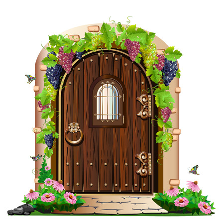 old wooden door in the garden Stock Illustratie