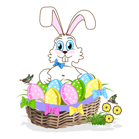 Cute Easter bunny with a basket of colorful eggs