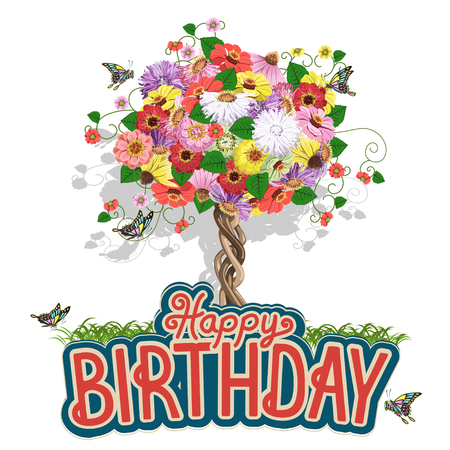 Happy birthday greeting card with a floral tree