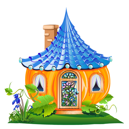 Fairy little house made of pumpkin illustration.