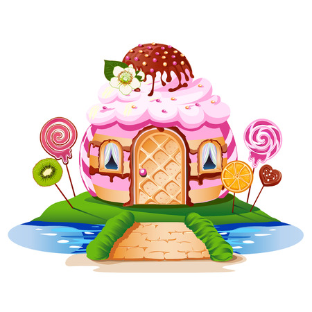 Sweet little house with chocolate and decorated with fruit. Cheerful vector illustration. Banque d'images - 100643026