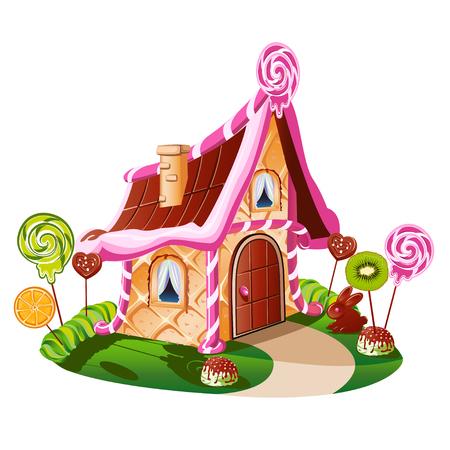 Lief huisje met chocolade en versierd met fruit. Vrolijke vectorillustratie. Vector Illustratie