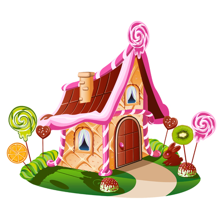 Sweet little house with chocolate and decorated with fruit. Cheerful vector illustration.