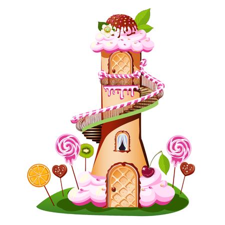 Château doux avec un toit de couleur crème et un bonbon Illustration vectorielle de conte de fées.