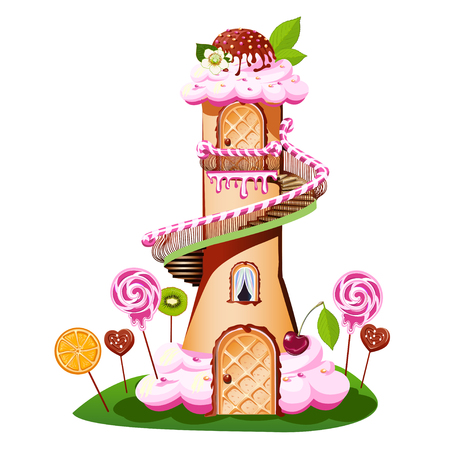 Sweet castle with a cream-colored roof and a piece of candy. Fairytale vector illustration. Illustration
