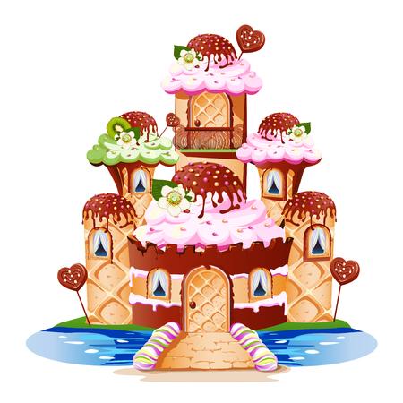 Un château de conte de fées avec des tours et un balcon fait de bonbons. Illustration vectorielle gaie et savoureuse.