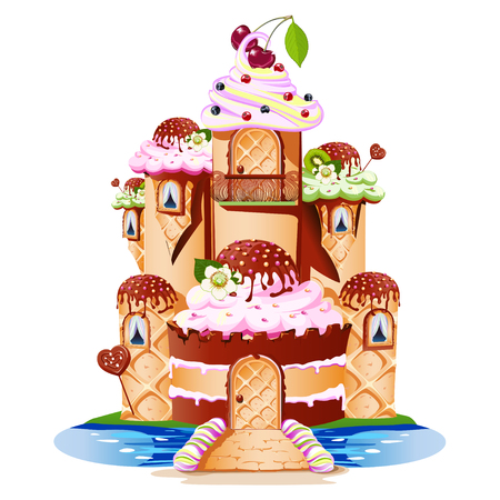 A fairytale castle with towers and a balcony made of sweets. Cheerful and tasty vector illustration.