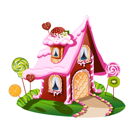 Sweet little house with chocolate and decorated with candy. Cheerful vector illustration. Иллюстрация