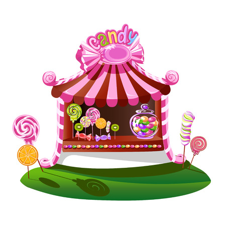 Candy shop with a cheerful decor. Fairytale vector illustration.