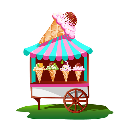 Ice cream cart with tasty decor. Bright, summer banner. Vector illustration.
