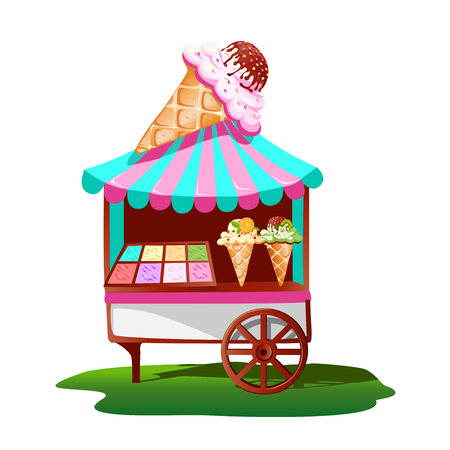 Ice cream cart with the tasty decor. Bright, summer banner. Illustration