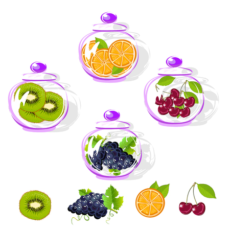 Fruits in a glass jar set. Kiwi, orange, cherry and grapes. Vector illustration.