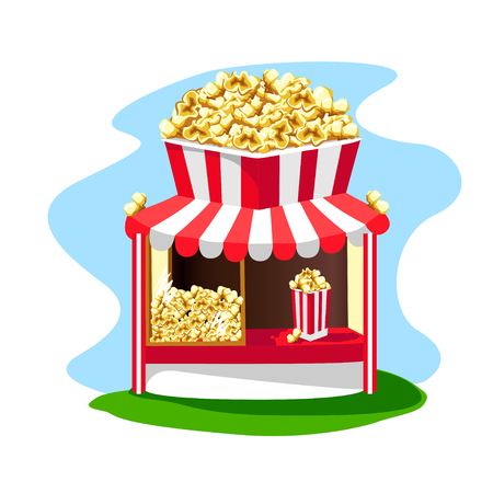 Delicious and bright popcorn shop with a paper glass of popcorn on the roof. Vector illustration.