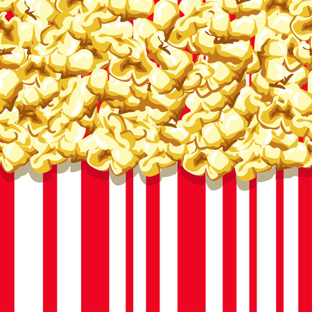 Popcorn pattern. Delicious and colorful seamless background. Vector illustration.