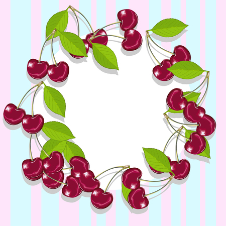 An empty frame of juicy and ripe cherries. Delicious vector illustration.