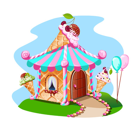 Fairy house of ice cream with cherries. Delicious vector illustration.
