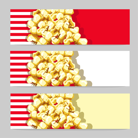 Delicious banner with golden popcorn. Vector set of illustrations.