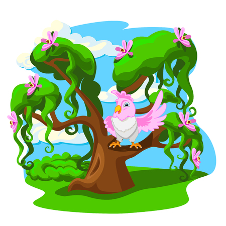 Cartoon tree with funny parrots. Colorful vector illustration.