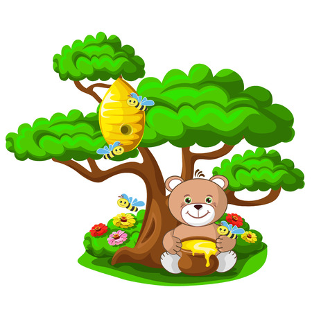 A teddy bear with a pot of honey and a beehive with merry bees. Summer vector illustration.