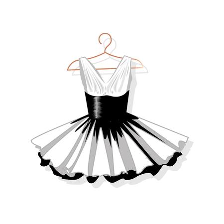 Dress with a lush skirt on the hanger. Vector illustration. Stock Illustratie