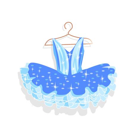 Dance dress with sparkles on a hanger. Vector illustration. Illusztráció