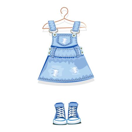denim dress on a hanger and denim sneakers. vector illustration.