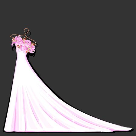 Watercolor wedding dress decorated with lily. Vector illustration. Ilustración de vector
