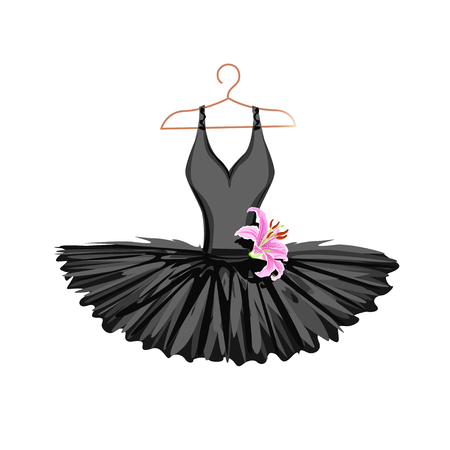 Watercolor ballet tutu on a hanger. Vector illustration.