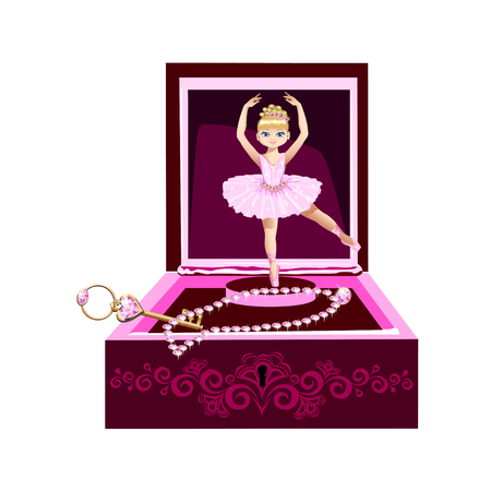 music box for jewelry with a ballerina. Vector illustration.