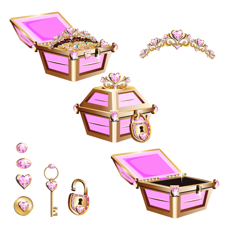 Treasure chest with pink jewelry and tiara. Set of vector illustrations.
