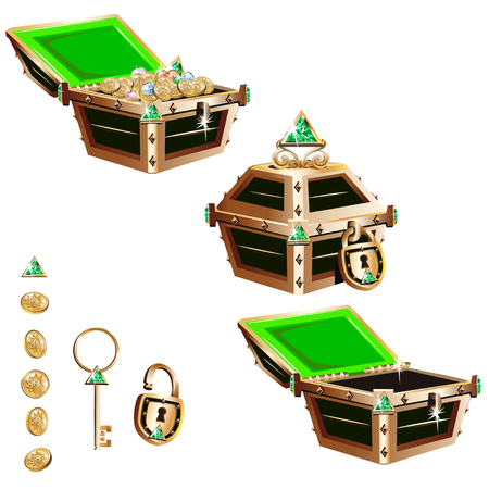 Treasure chest with a gold frame and crystals. Set of vector illustrations. Çizim