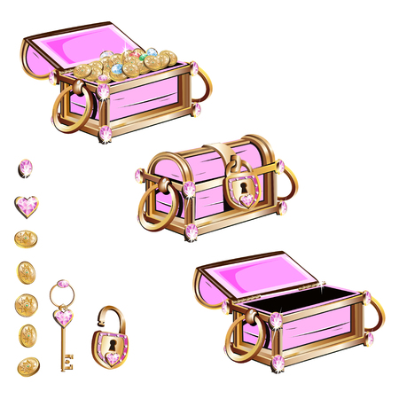 Treasure chest with pink gemstones. Set of vector illustrations.