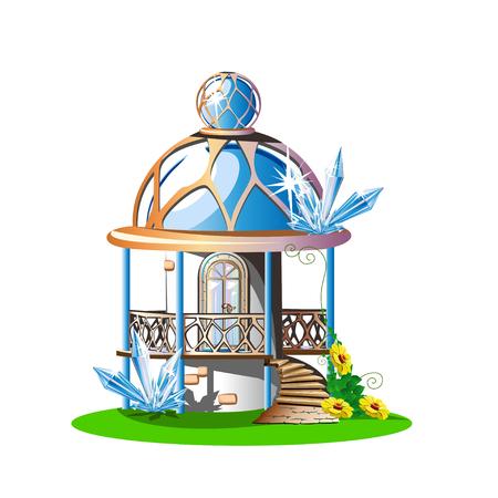 Castillo de cuento de hadas con techo abovedado azul, balcón y cristales. Ilustración de vector mágico en estilo oriental. Ilustración de vector