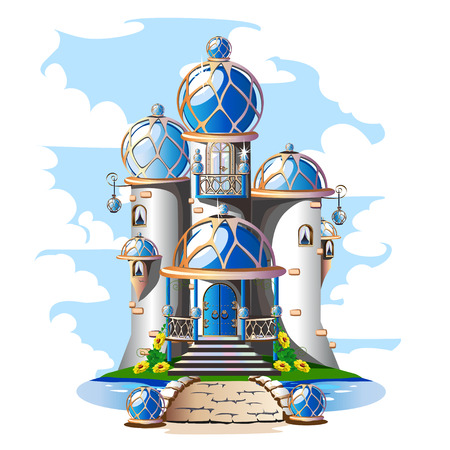 Fairytale castle with a blue domed roof, a balcony and crystals. Magic vector illustration in oriental style.