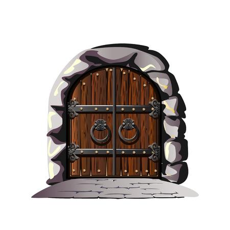Puerta antigua decorada con hierro. Estilo de dibujos animados. Ilustración vectorial