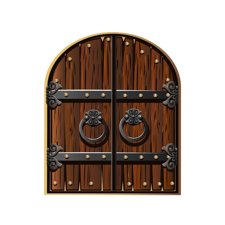 Ancient gate decorated with iron. Cartoon style. Vector illustration
