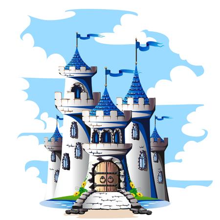 Torres de cuento de hadas de un castillo de piedra con una puerta y un puente. Ilustración de vector. Ilustración de vector