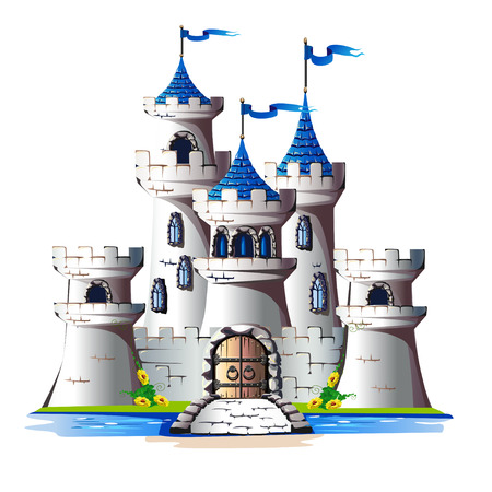 Fairytale towers of a stone castle with a gate and a bridge. Vector illustration.