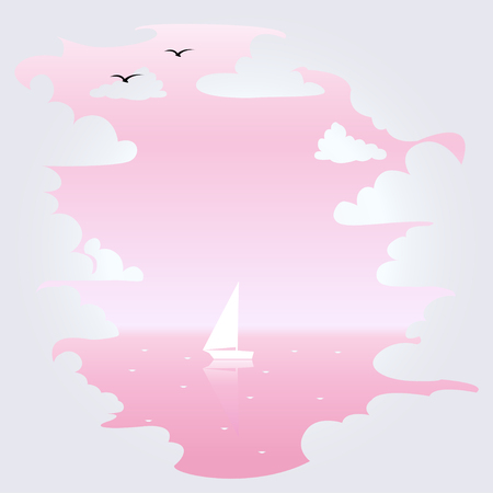 White clouds and sea in pastel colors. Background. Vector illustration.