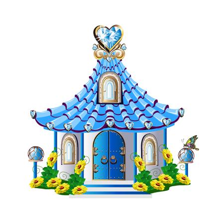 Fairytale house with blue crystals