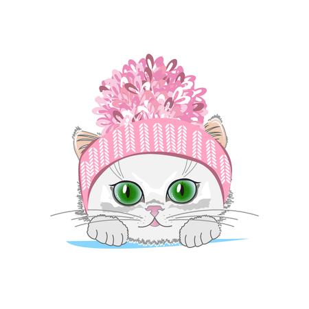 Cute cat in a winter hat with bubo. Vector illustration Illusztráció