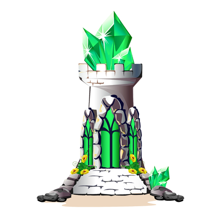 Fairytale tower with green crystals.