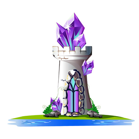 Fairytale tower with purple crystals.