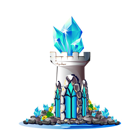 Fairytale tower with blue crystals.