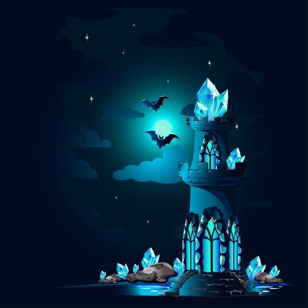 Halloween poster with dark castle. Stock Illustratie
