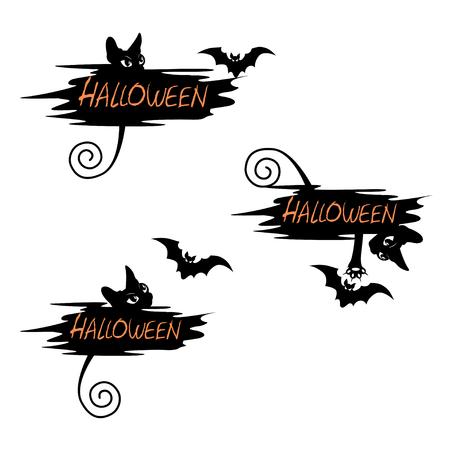 Set of festive label for Halloween Ilustração