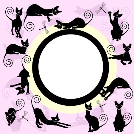 Color frames with black cats. Stock Illustratie