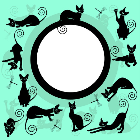 Color frames with black cats Stock Illustratie